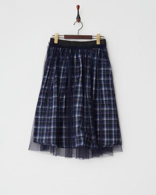 ネイビー  チュール×チェックリバーシブルひざ丈スカート見る