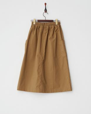 キャメル  TCツイル起毛ポケット付ロングスカート見る