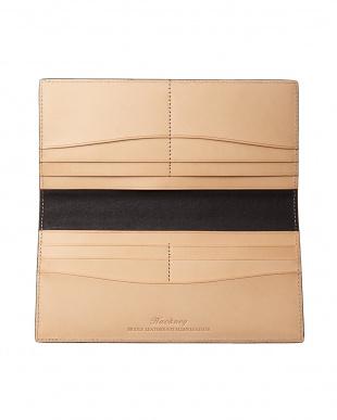ネイビー  クレイトン社製ブライドルレザー長財布(小銭入れなし)見る