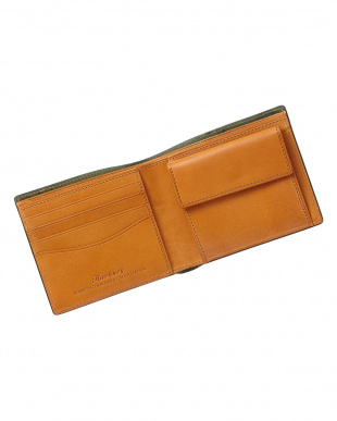 ブラック  ホーウィン社製シェルコードバン二つ折り財布見る