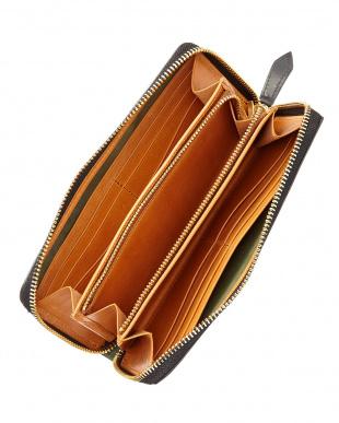 バーガンディ  ホーウィン社製シェルコードバンラウンド長財布見る