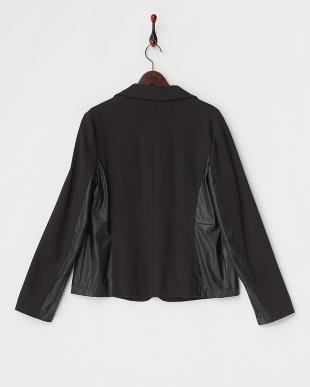 ブラック 素材切り替えテーラードジャケット見る