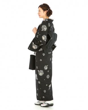 ブラック系 桜+縦縞 紬織プレタ2点セット見る
