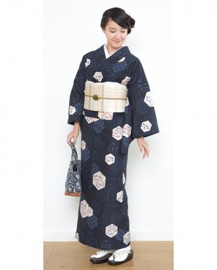 ネイビー系 花&和柄 紬織プレタ2点セット見る