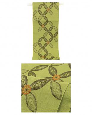 ブラウン系 菊&縞 紬織プレタ2点セット見る