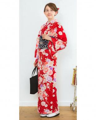 レッド系 牡丹×桜 洗えるきもの 特選プレタ2点セット見る