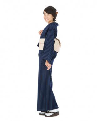 ネイビー系 縞+花 正藍染 松阪木綿セット見る