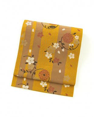 オレンジ系 桜×縦縞 名古屋帯見る