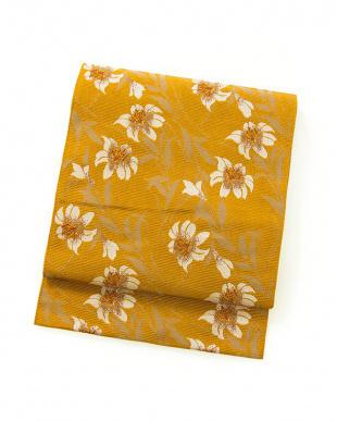 オレンジ系 花A 名古屋帯見る