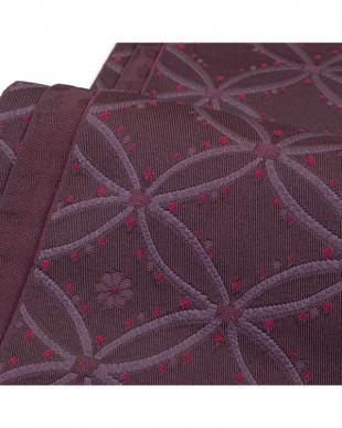 ダークパープル系  七宝+桜 両面小袋帯見る