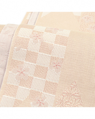 ベージュ系&ピンク系  矢羽+桜 両面小袋帯見る