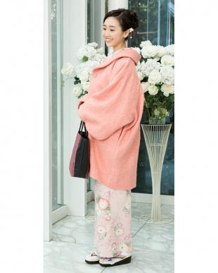 ピンク系 ウール30%混メランジ 着物コート見る