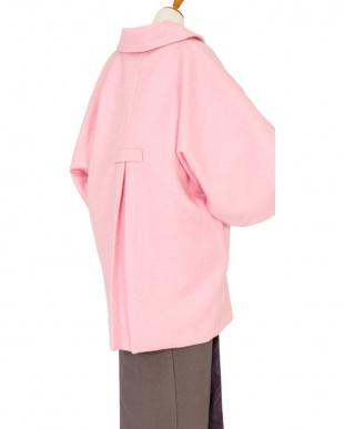 ピンク系 ウール35%混 着物コート見る