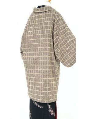 ベージュ系  長方形 ロング丈着物コート見る