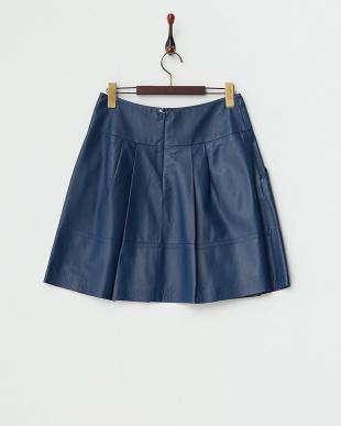 ブルー  レザースカート見る