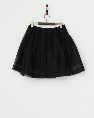 ブラック  チュールレイヤードスカート見る