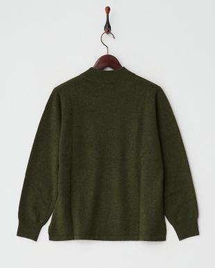 グリーン  カシミヤ100%リブネックセーター見る