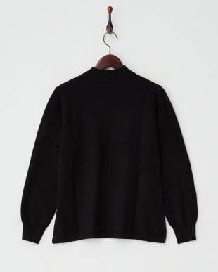 ブラック  カシミヤ100%リブネックセーター見る