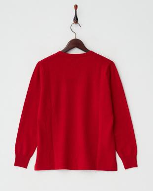 レッド  カシミヤ100%ラウンドネックセーター見る