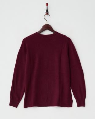 ワイン  カシミヤ100%ラウンドネックセーター見る