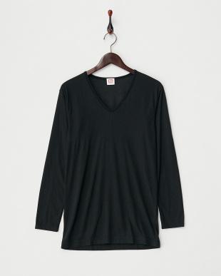 ブラック  HEAT BIZ 薄手 上下セット Vネック長袖Tシャツ&ロングスパッツ見る