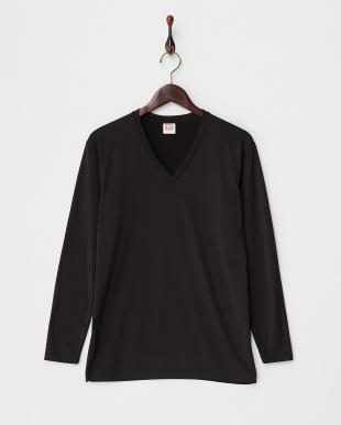 ブラック  瞬暖 裏起毛ストレッチ 上下セット Vネック長袖Tシャツ&ロングスパッツ見る
