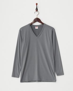 チャコールグレー  瞬暖 裏起毛ストレッチ 上下セット Vネック長袖Tシャツ&ロングスパッツ見る