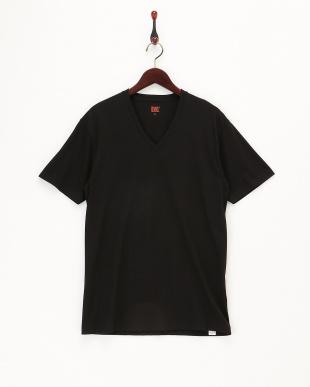ブラック  VネックTシャツ2枚組見る
