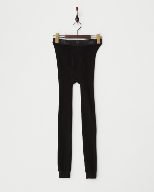 ブラック/グレー 綿混丸編みタイツ 2色セット 10分丈タイツ(BK×GR)見る