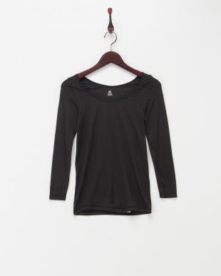 ブラック+チャコールグレー  2枚セット・吸湿発熱長袖インナー見る