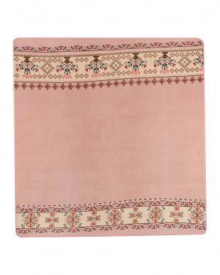 ピンク  フォークロア フランネルプリントラグ 200×250見る