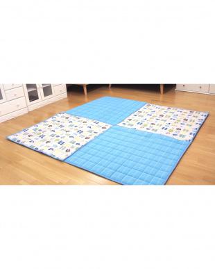 ブルー  チェック柄ジョイントラグ 90×90見る
