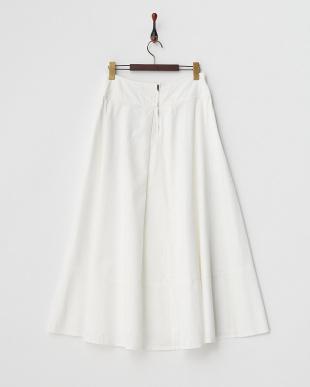 ホワイト コットンテンセル フレアロングスカート見る