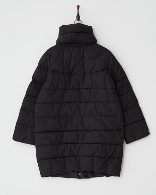 ブラック スタンドカラー中綿コート見る