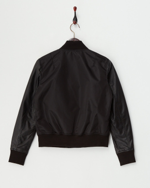 Black  Lamb Leather Sleeve Blouson見る