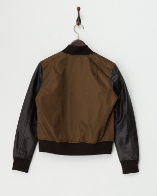 Brown  Lamb Leather Sleeve Blouson見る