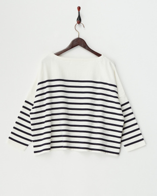 White×Navy  USA Cotton Border Big Tee見る