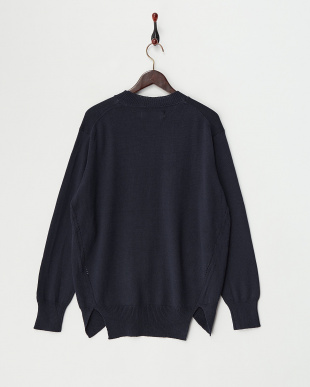 Navy  Cotton Cashmere Round Hem Knit見る