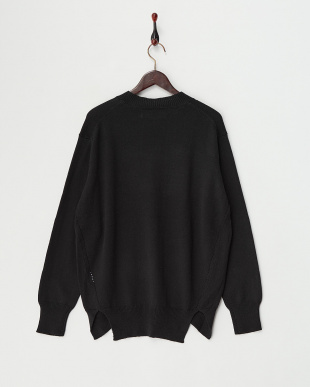 Black  Cotton Cashmere Round Hem Knit見る