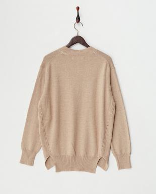 Beige  Cotton Cashmere Round Hem Knit見る