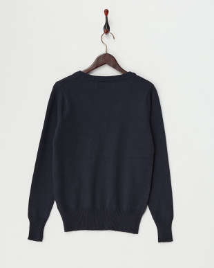 Navy  Cotton Cashmere Vneck Knit見る
