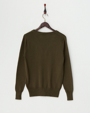 Khaki  Cotton Cashmere Vneck Knit見る