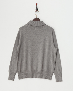 M/Gray  Cotton Cashmere Turtle Neck Knit見る