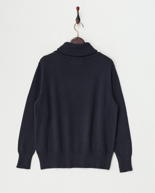 Navy  Cotton Cashmere Turtle Neck Knit見る