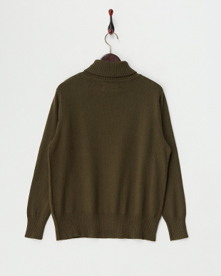 Khaki  Cotton Cashmere Turtle Neck Knit見る