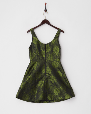 グリーン スクープネック大花刺繍ワンピース見る
