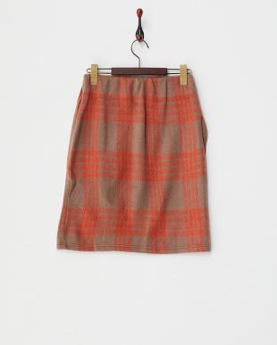 ベージュ  シャギーチェックタイトスカート見る