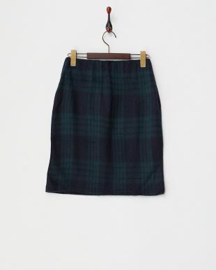 ネイビー  シャギーチェックタイトスカート見る