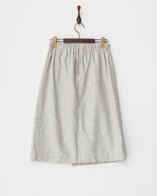グレー  箔プリーツスリットスカート見る
