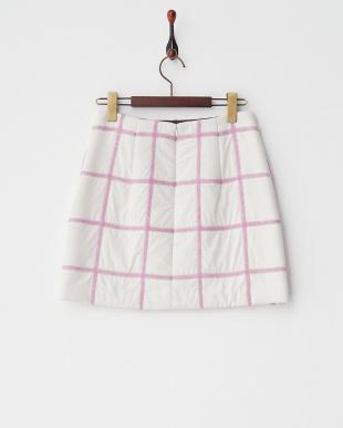 ホワイト 中綿グリッドスカート見る
